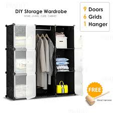 diy black flower design cube rack storage cabinet wardrobe with hanger