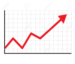 Stock Chart Up Trend Up Graph Icon In Trendy Isolated On White Background Flat