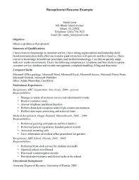 Receptionist Sample Resume Entry Level Medical Receptionist Resume