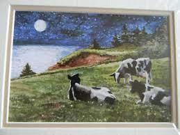 MOONLIGHT GALS 8x10 Watercolor Art Print by HUGH CROSBY Listed Artist Cows  MOO!! 663567010945   eBay