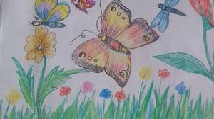 Small Picture how to draw beautiful butterflies in a garden YouTube