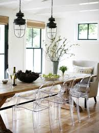 love the mix of acrylic ghost chairs and farmhouse table simply modern with rustic elements modern rustic interiordesign