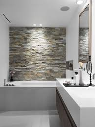 bathroom tiled walls. Stone Accent Wall In Your #Bathroom. Something To Look At The Tub! Bathroom Tiled Walls