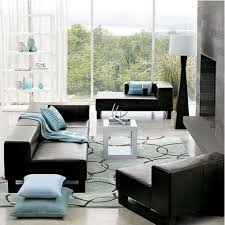 rugs living room nice: full size of living room two blue sky pillows and black leather upholstery sofa facing fireplave