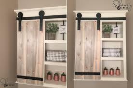 Bathroom shelves with barn door