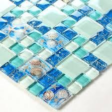glass conch tiles beach style sea blue tile green mosaics wall art kitchen bathroom design mosaic