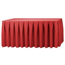 Unlike gathered table skirts, knife pleats create smooth, precise lines  down the length of the skirt. The knife pleated table skirt is a classic  choice that ...
