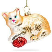 Sikora Bs187 Katze Mit Wollknäuel Christbaumschmuck Glas Figur Weihnachtsbaum Anhänger Caspar Taschen