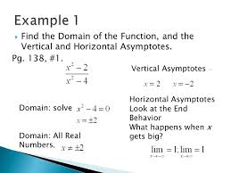 find the domain of the function and the vertical and horizontal asymptotes