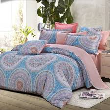 light blue grey and pink folklore pattern boho style circle print western moroccan themed 100 cotton damask full queen size bedding sets