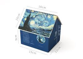2020 Creative Folding House Desk Calendar Van Gogh <b>Starry Night</b> ...
