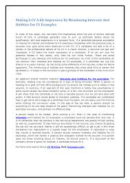 Resume Hobbies And Interests Sample Interests And Hobbies Examples Enderrealtyparkco 16
