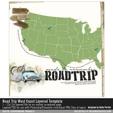Road Trip Template Road Trip West Coast Layered Template Katie Pertiet Pse