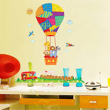 cute hot air balloon wall stickers for kids rooms removable cartoon an