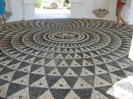 tiles mosaic stone flooring pebble effect floor tiles ancient unique circle black cream color pattern