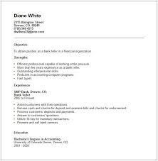 Bank Teller Resume Objectives Resume Sample Vinodomia