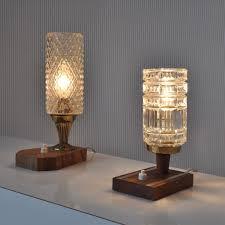 unknown manufacturer vintage mid century modern teak wooden brass glass table lamps