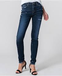 Mid Rise Cat Scratched Tacking Skinny Jeans