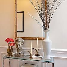 console table decor. Glass Top Foyer Table With Gold Bamboo Mirror Console Decor