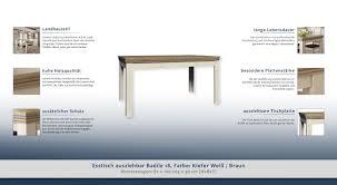 Esstisch Ausziehbar Badile 18 Farbe Kiefer Weiß Braun 82 X 160