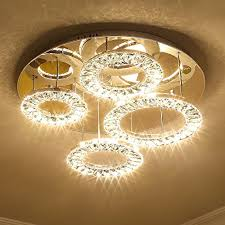 saint mossi modern k9 crystal led 4 ring chandelier lighting flush mount led ceiling light fixture lamp dining room bathroom bedroom livingroom height 8 x