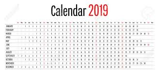 Horizontal Calendar 2019 Calendar Design Horizontal Dimension Template Simple Clear