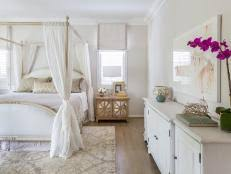 Elegant White Master Suite Features Gold Accents | HGTV Faces of ...