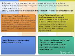 Презентация на тему l o g o Молодежная политика Республики  3 В Республике Беларусь молодежная политика признается