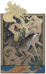 Prince Ivan, the Firebird, and the Grey Wolf, an art print by Rebecca Solow  - INPRNT