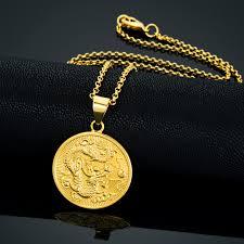 whole vine gold color round chinese ethnic zodiac dragon pendant necklace men s necklace women s