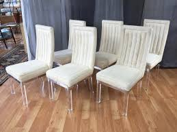 sixpiece set of charles hollis jones lucite leg dining chairs