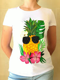 T Shirt With Pineapple Design Summer Pineapple Acrylic Hand Painted T Shirt