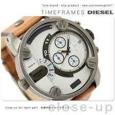 nanaple rakuten global market diesel watch men chronograph diesel watch men chronograph white x light brown leather belt diesel dz7269