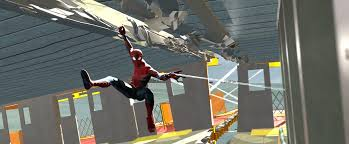 a previs frame from the third floor shows spider man struggling to web