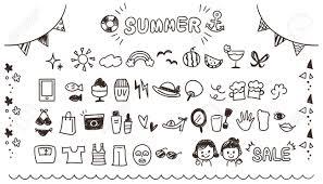 夏に関連するアイコンのコレクションかわいい手書きスタイル