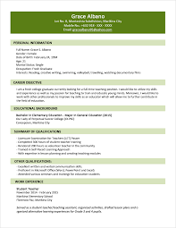 Resume Profile Examples For Students Sample Resume Format for Fresh Graduates TwoPage Format 52