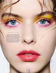 pink and yellow makeup beauty