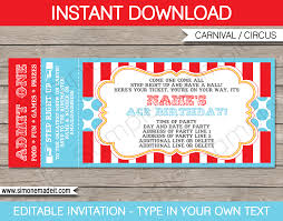 Invitation Ticket Template Circus Ticket Invitation Template Carnival Or Circus Party 1