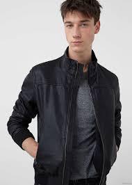 leather biker jacket by mango men s black