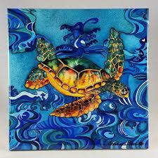ceramic tiles art ocean. Contemporary Ceramic Ceramic Tile Turtle  U0026quotOcean Butterflyu0026quot Artwork By Candace Lee  Made In For Tiles Art Ocean R
