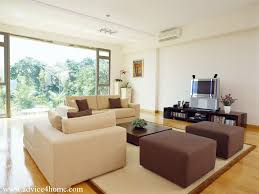 Living Room With Brown Furniture Cream And Brown Sofa Design And White Wall In Living Room With
