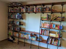 black pipe shelving wall mounted and