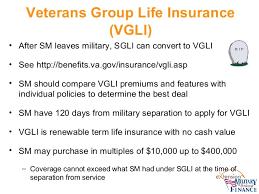 Group Life Insurance Veterans Group Life Insurance