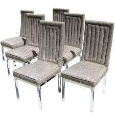 a set of six rare round leg charles hollis jones dining chairs acrylic legs furniture acrylic legs