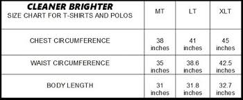 Polo Shirt Size Chart Polo Shirts Cleaner Brighter