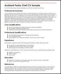 Pastry Chef Resume Template Assistant Pastry Chef Cv Sample