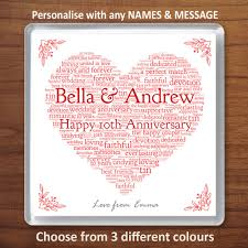 details about personalised 10th wedding anniversary gift tin drinks coaster word art heart