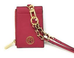 tory burch lanyard id holder peony saffiano leather credit card case 36909