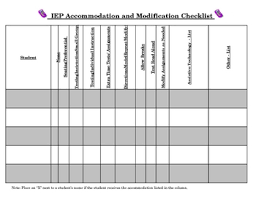 Iep Accommodations And Modifications Quicksheet