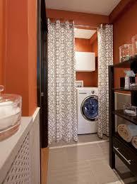 bold orange laundry room